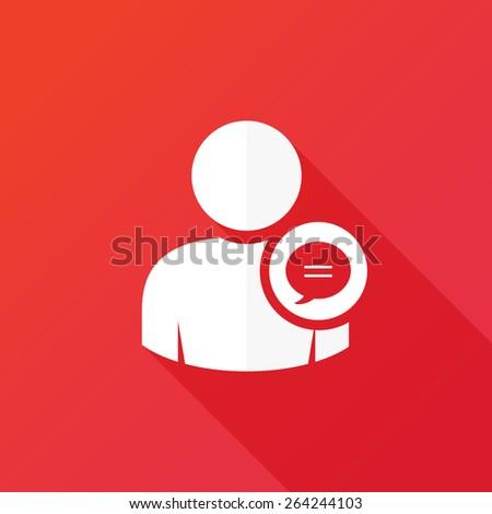 Social media profile chat bubble icon - stock vector