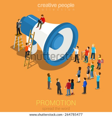 Social media promotion online marketing flat 3d web isometric infographic modern technology communication concept. Huge loudspeaker micro people listening. Spread the word. Creative people collection.  - stock vector