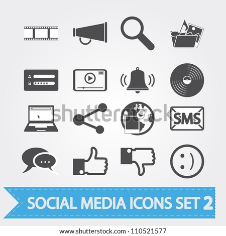 Social media related vector icons for your design or application. - stock vector