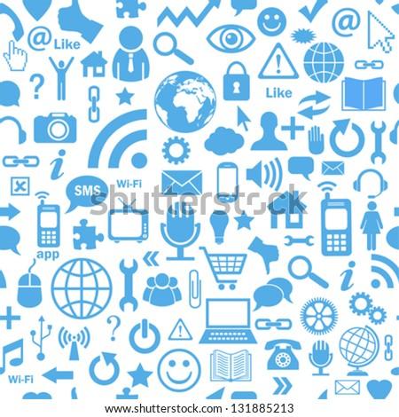 Social media seamless background - stock vector