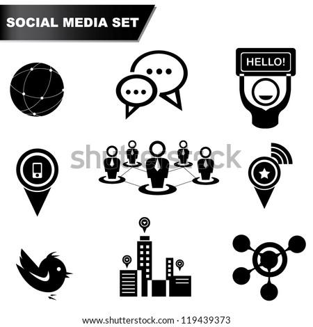 social media set, icon set - stock vector