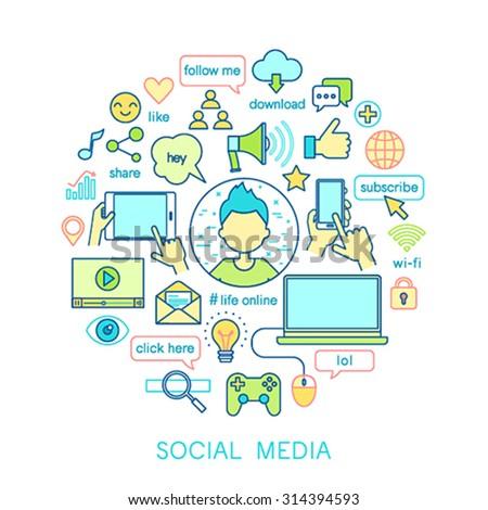 Social Media set -line icons. Vector illustration. - stock vector