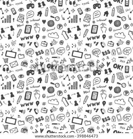 Social media sketch vector icons set - stock vector