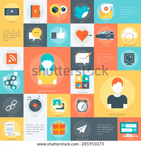 Social Media Stylish, minimal and fully editable set of social vector icons ready for your project. - stock vector