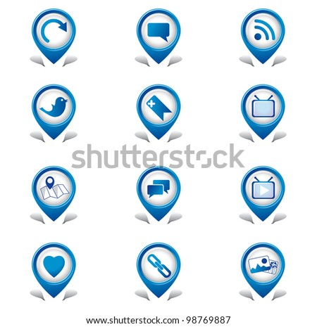 Social Media Tab Icons - stock vector