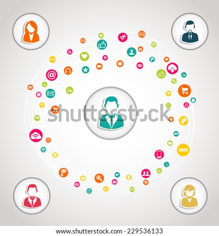 Social media teamwork diagram concept illustration. EPS10 vector file with transparency layers. - stock vector