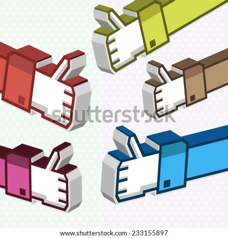 Social media thumb up like 3d icons colorful background poster - stock vector