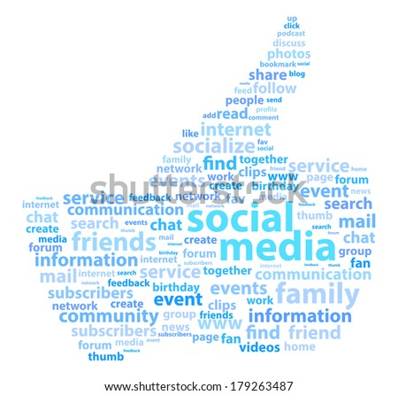 Social Media Thumb Up Word Cloud Concept - stock vector
