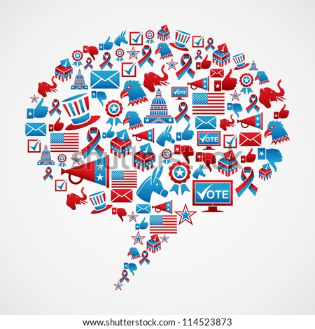 Social media USA election icon set concept in bubble talk shape. Vector file layered for easy manipulation and custom coloring. - stock vector
