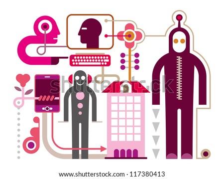 Social Media - vector illustration on white background. Communication Network. - stock vector