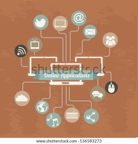 social media vintage over orange background. vector illustration - stock vector