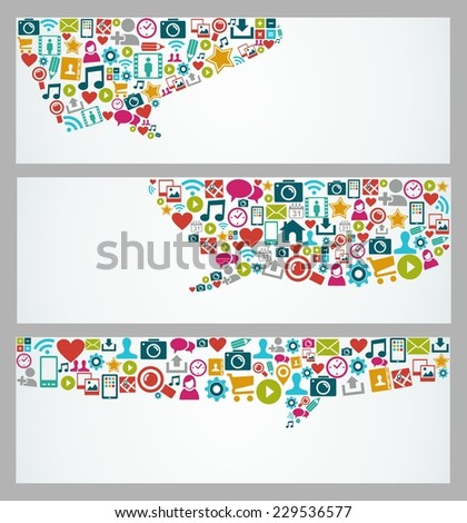 Social media web banners set with network and multimedia icons in speech bubble shape composition. EPS10 vector file with transparency layers. - stock vector