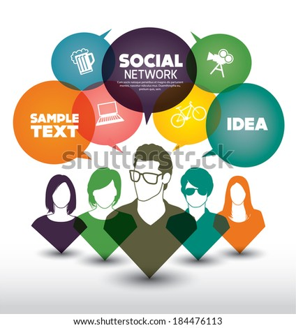 Social media with people - stock vector