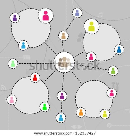 Social Network. - stock vector