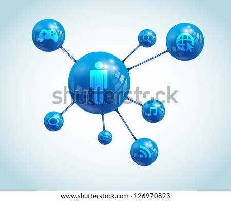 Social network abstract representation. It contains overlay blend mode and meshes. / Social Network Apps - stock vector