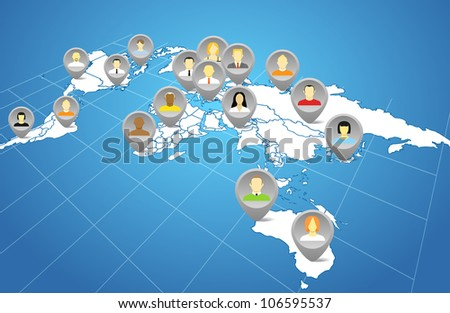 Social network abstract scheme on the Earth map in perspective - stock vector