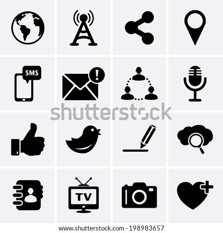 Social Network and Internet Icons - stock vector