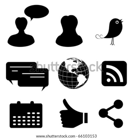 Social network and media icons - stock vector