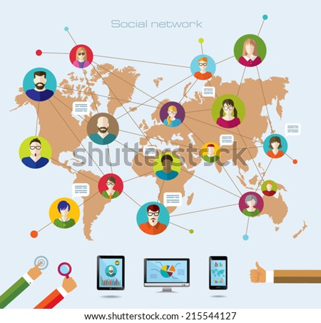 Social network and modern technology. Education. Conceptual banner. Flat icons. - stock vector