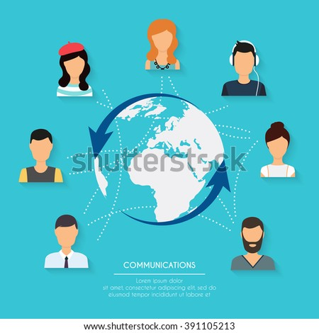 Social network and teamwork concept for web and info graphic. Set of people avatars and icons. Hands holding and using computer, tablet, laptop, smart phone. Communication Systems and Technologies. - stock vector