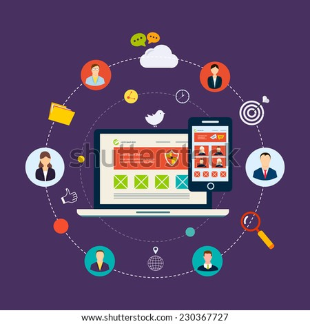 Social network and teamwork concept for web and infographic. Flat style vector illustration - stock vector