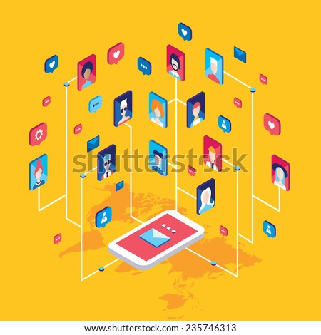 Social network and technology concept Global communication by smart phone mobile internet - stock vector