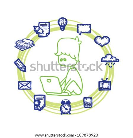 social network around people - stock vector