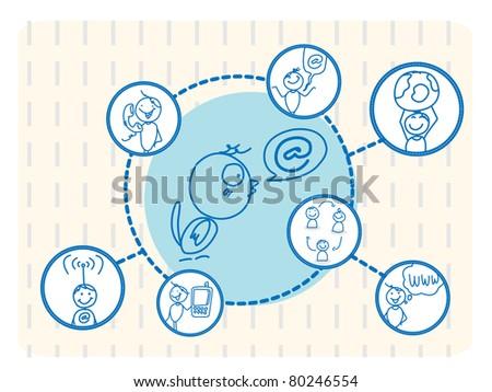 social network bird - stock vector
