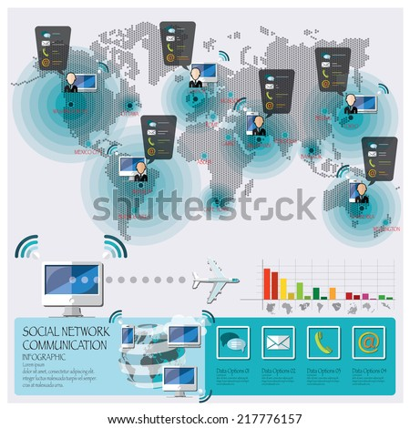Social Network Communication Connection Infographic Design Template - stock vector