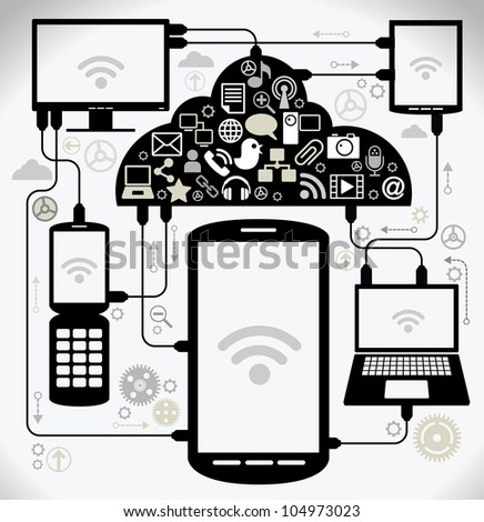 social network, communication in the global computer networks. laptop phone tablet  Connection - stock vector