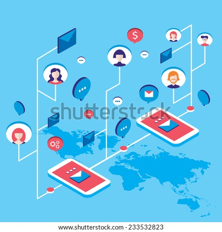 Social network communication Isometric concept  illustration People user avatars and speech bubbles - stock vector