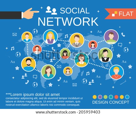 Social network computer users communication activity concept layout chart with avatars icons composition templates flat vector illustration - stock vector