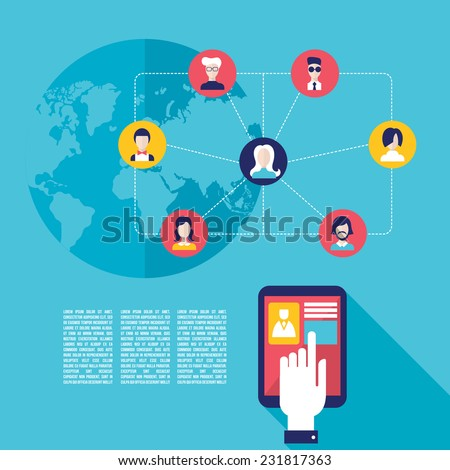 Social network concept Businessman hand touching the tablet screen with web user icons - stock vector
