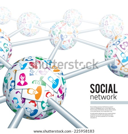 Social network concept. Eps10. Transparency used. CMYK. Global colors. Gradients used - stock vector