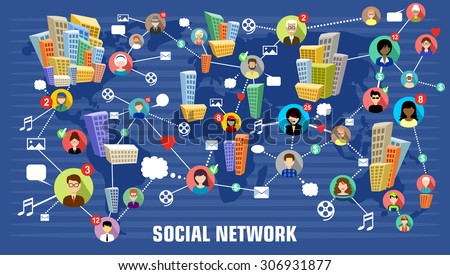 Social network concept. Flat style. Infographic design. Communication systems and technologies.