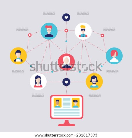Social network concept. Global communication, technology infographic elements. Vector illustration - stock vector