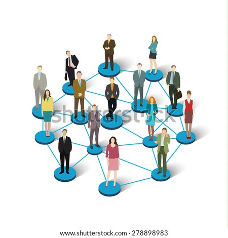Social network concept. Illustration of society members with men and women. Flat design vector illustration - stock vector