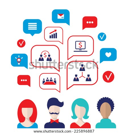 Social network concept. People avatars with speech bubbles and business icons for web. Vector illustration - stock vector