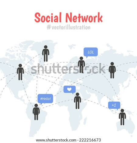 Social network concept with space for text. Pictogram people on world map connection by line. Speech bubbles with text and tags - stock vector