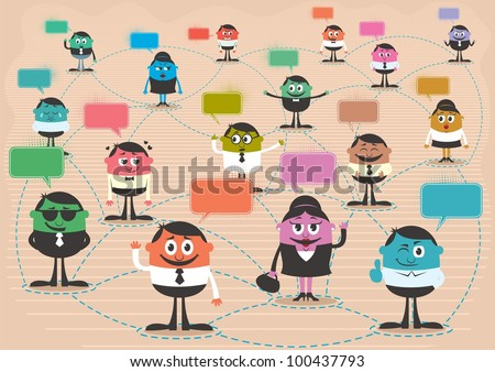 Social Network: Conceptual illustration for social network. No transparency and gradients used. A4 proportions. - stock vector