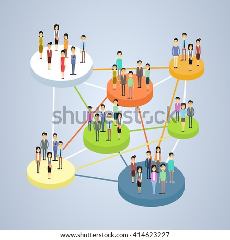 Social Network Connection Communication People Group 3d Isometric Vector Illustration - stock vector