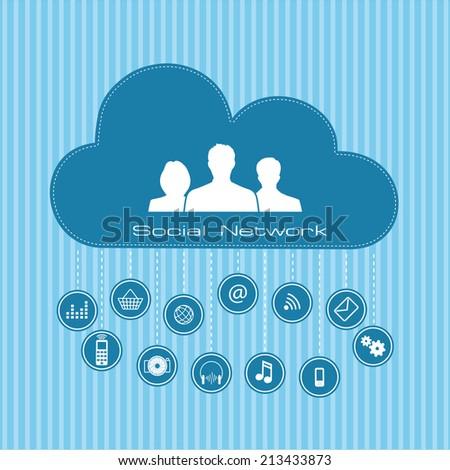 Social  network connection concept - stock vector