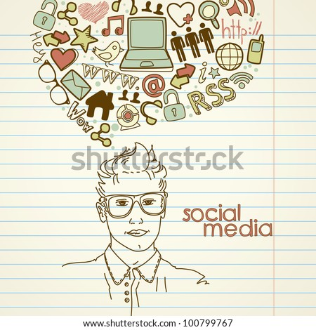 Social network doodles. Handsome men with thought bubble - stock vector