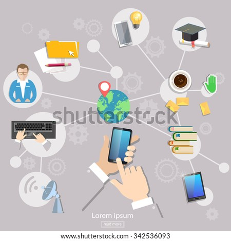 Social network geolocation people communication student life touch screen mobile - stock vector
