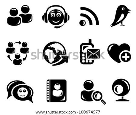 Social network icon set - stock vector
