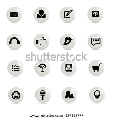 Social network,icon set,vector - stock vector