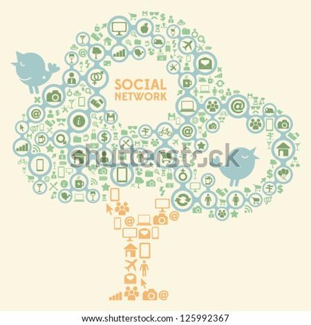 Social Network Icon Tree - stock vector