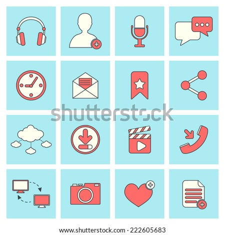 Social network icons flat line set with website elements isolated vector illustration - stock vector
