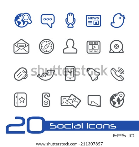 Social Network Icons // Line Series - stock vector