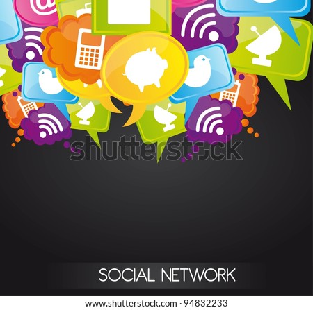 Social network icons on bubbles colors, vector illustration - stock vector